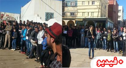 نشطاء ينظمون وقفة إحتجاجية أمام مقر جماعة تمسمان بكرونة  تنديدا بتردي الوضع العام بالجماعة