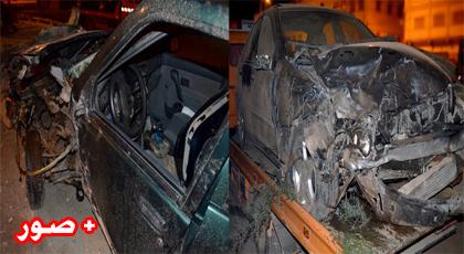 إصطدام قوي بين سيارتين في حادثة سير بطريق بن الطيب والألطاف الإلهية تحول دون خسائر بشرية
