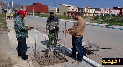 """جمعويون بـ""""إحدادن"""" ينظمون حملة يزرعون خلالها عددا من الأشجار وسط الشارع الرئيسي للجماعة"""