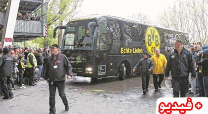"""انفجار 3 عبوات ناسفة """"شديدة"""" قرب حافلة فريق  بروسيا  دورتموند الألماني"""
