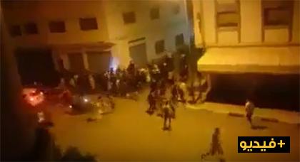 لحظة تدخل الأمن لتفريق المحتجين بإمزورن وأنباء عن مجموعة من الإعتقالات