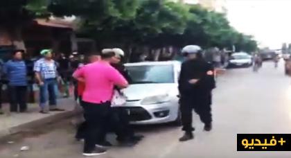 شاهدوا لحظة إعتقال أحد المحتجين بالعروي
