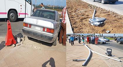 حادثة سير خطيرة بكورنيش الناظور بسبب وعكة صحية مفاجئة لسائق مريض بالسكري