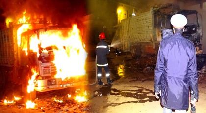 الدريوش.. ألسنة النيران تلتهم هيكل شاحنة بالكامل ببن الطيب وفرضية الحرق العمد واردة