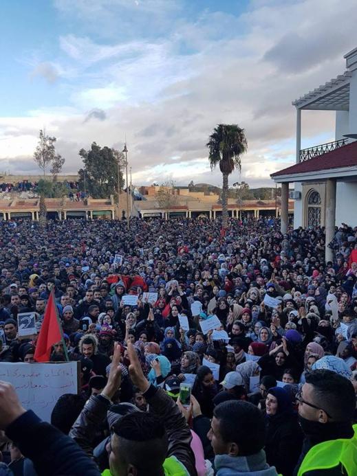 بالفيديو..  استمرار الاحتجاجات لليوم السادس على التوالي بمدينة جرادة