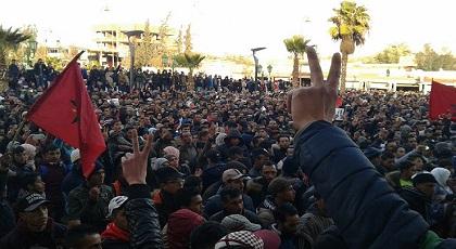 ساكنة جرادة تستقبل أول يوم من 2018 بمظاهرات حاشدة