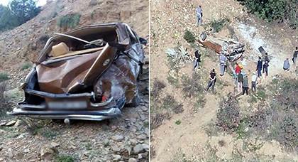 هكذا تحولت السيارة التي انقلبت في منحدر جبلي نواحي الدريوش مخلفة ثلاثة قتلى