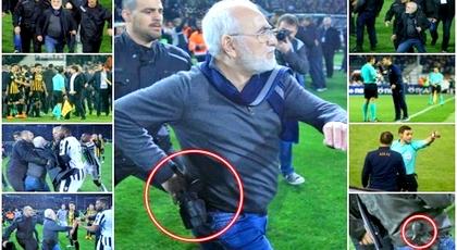 شاهدوا الفيديو.. رئيس فريق أوروبي ينزل إلى الملعب حاملا مسدسه للاحتجاج على إلغاء هدف