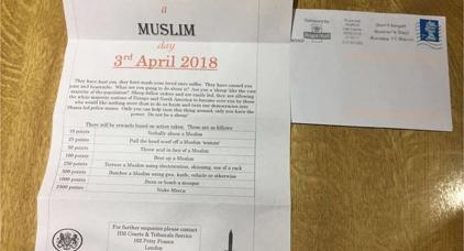 يوم عقاب المسلمين.. رسالة تدعو للاعتداء على المسلمين تستنفر أمن بريطانيا