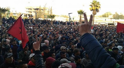 نشطاء حراك الفحم يعتصمون وسط جرادة للمطالبة بالإفراج عن رفاقهم المعتقلين