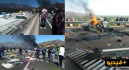 فاجعة بالفيديو: مصرع 6 أشخاص حرقا وجرح أخرين إثر حادثة سير مأساوية بين شاحنتين