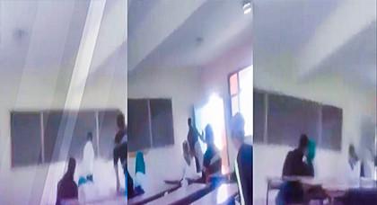 هادشي بزاف.. أستاذة وتلميذة دابزو وسط القسم والتلاميذ صوروهم