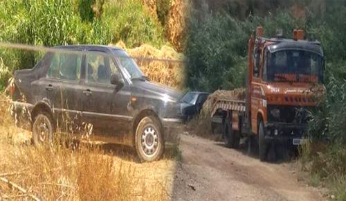 بالصور.. مجهولون يتخلصون من سيارة مسروقة في ظروف غامضة بجماعة تمسمان