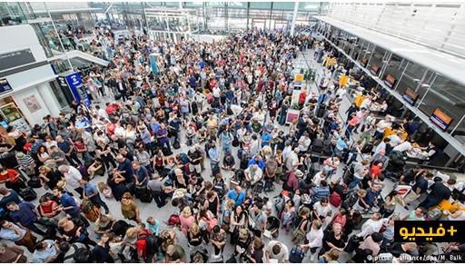 بالفيديو .. فوضى في مطار ميونخ وإلغاء 200 رحلة الى وجهات مختلفة بسبب إمرأة