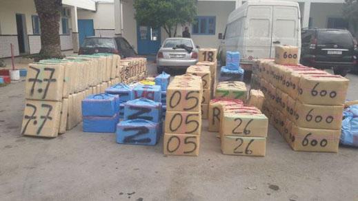 امن ميناء المتوسط يحبط عمليتي تهريب ازيد من 600 كلغ من مخدر الشيرا