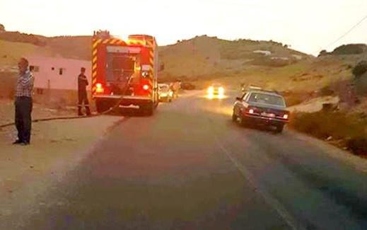 الدريوش.. مهاجر ينجو بأعجوبة من حادثة سير تسببت في احتراق سيارته قرب مدينة بن الطيب