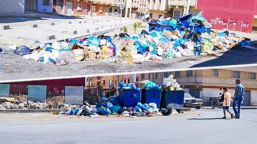 بالصور.. شاهدوا كيف غرقت شوارع أزغنغان وسط أكوام الأزبال والنفايات خلال أيام العيد