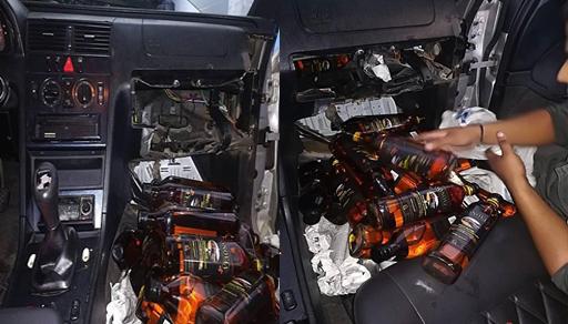 جمارك معبر فرخانة تحجز سيارة وتحبط عملية تهريب كمية من المشروبات الكحولية