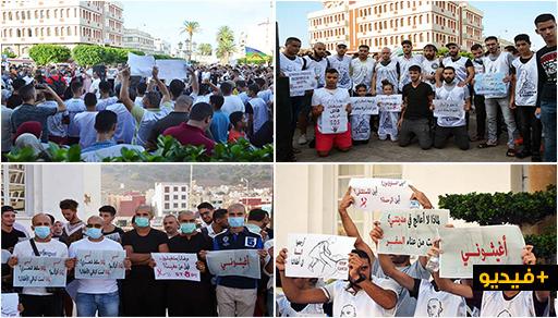 حشود غفيرة ضمنهم متضامنون حلقوا رؤوسهم يخلقون الحدث ويطالبون الدولة بمستشفى علاج السرطان بالناظور