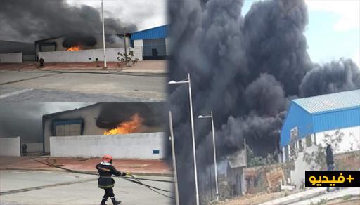حريق مهول يأتي على مخزن للصباغة بالحظيرة الصناعية لسلوان