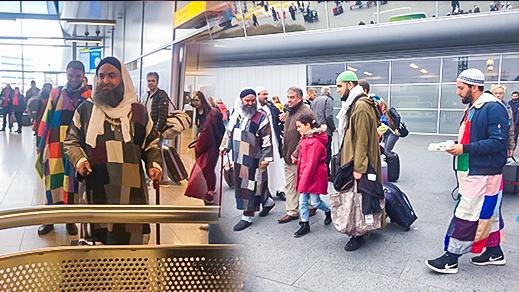 زيارة لشيخ الزاوية الكركارية بالعروي الى أوروبا تحظى بإستقبال حافل بمطار أمستردم