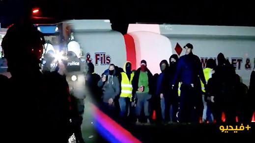 بالفيديو.. مظاهرات وأعمال شغب احتجاجًا على أسعار المحروقات في بلجيكا