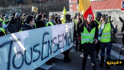 بلجيكا.. المئات من أصحاب السترات الصفراء يحتجون في شوارع نامور