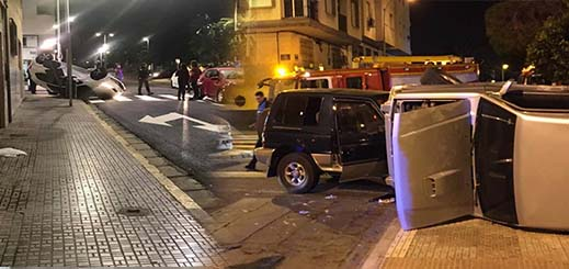 بالصور.. إنقلاب 4 سيارات دفعة واحدة في حادثة سير خطيرة بمليلية