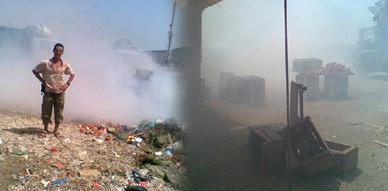 رواد السوق الأسبوعي ببني شيكر يختنقون بسبب حرق الأزبال في عز شهر رمضان