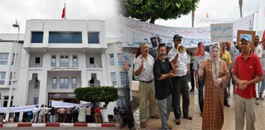 عمال شركة سوفرينور يحتجون من جديد أمام عمالة الناظور للمطالبة بحل مشاكلهم الإجتماعية