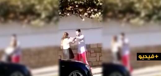 مثير... شاهدوا كيف تعرضت شابة للتعنيف على يد الفنان بدر سلطان في الشارع العام