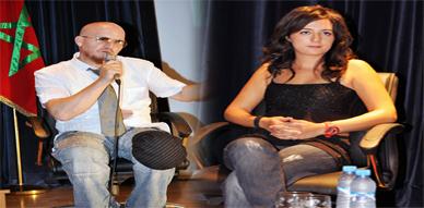 نبيلة معان والشاب بلال في لقاء تواصلي مع رجال الإعلام بالناظور ضمن فعاليات المهرجان المتوسطي للناظور