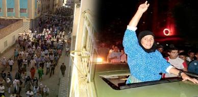 استمرار المسيرات الشعبية ببني بوعياش لليوم الحادي عشر على التوالي والأرملة تستلم مفاتيح الشقة وسط احتفال شعبي