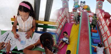 فضاء الطفل جانب آخر يعكس التنوع الذي يعرفه المهرجان المتوسطي للناظور