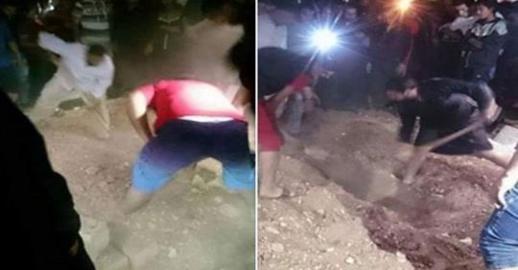بالفيديو.. إخراج جثة سيدة بعد دفنها بعدة أيام إثر سماع أنين يصدر من قبرها