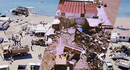 بالصور.. سلطات الناظور تقوم بتحرير الملك البحري وتهدم منازل وبراريك كان يستغلها إسبان بتشارنا