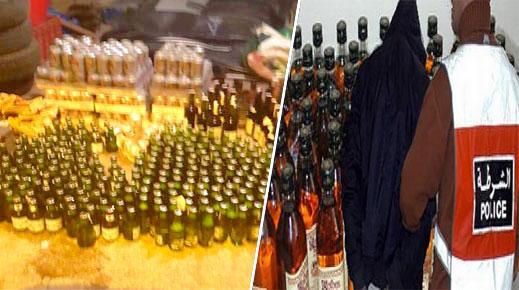 شرطة بني انصار تعتقل مروجا للخمور وتداهما مستودعا له بسلوان وتحجز كمية من الخمور المهربة