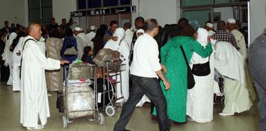 مطار الناظور ـ العروي يستقبل ضيوف الرحمان المنحدرين من الريف وسط أجواء روحانية وعائلية