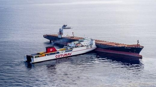 حادثة بحرية.. بين باخرة على متنها أفراد الجالية وسفينة لنقل البضائع