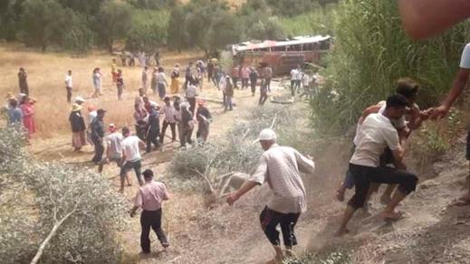 حافلة الحسيمة التي إنقلبت في حادثة سير خطيرة بتاونات تخلف 4 قتلى و23 جريحا