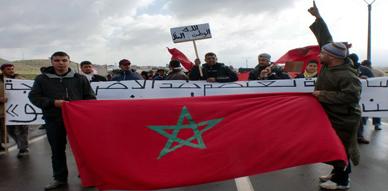 حضور القوة العمومية في مسيرة سلمية لدوار أولاد اعمامو بزايو تجاه محجرة كوناريف