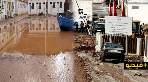 ميناء سيدي حساين بتزاغين يتحول إلى أوحال جراء التساقطات المطرية ومهنيون يطالبون وكالة المواني بالتدخل