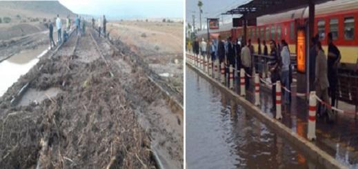 الأمطار تلغي رحلات القطار المنطلقة من الناظور.. والسكة الحديدية تغمرها المياه بحاسي بركان