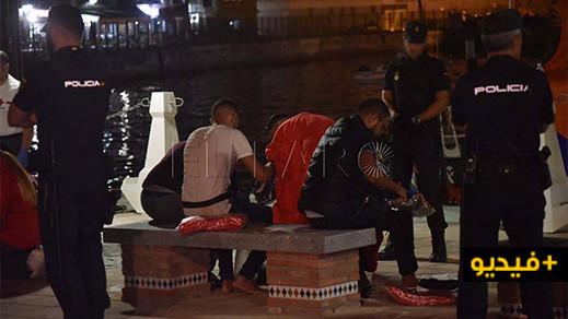 شاهدوا بالفيديو.. الحرس المدني يحبط محاولة للهجرة السرية نفذها 16 مغربيا ويعتقل المشرفين على عملية الهجرة