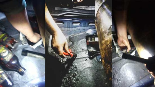 بالصور.. توقيف شخص بمعبر بني نصار حاول تهريب كمية مهمة من الخمور داخل خزان البنزين الخاص بسياراته