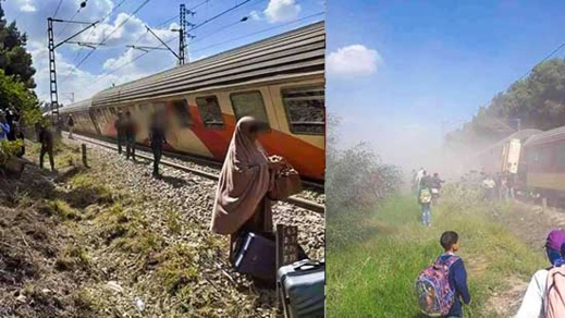بالصور.. إنحراف قطار عن سكته يخلف هلعا كبيرا وسط المسافرين