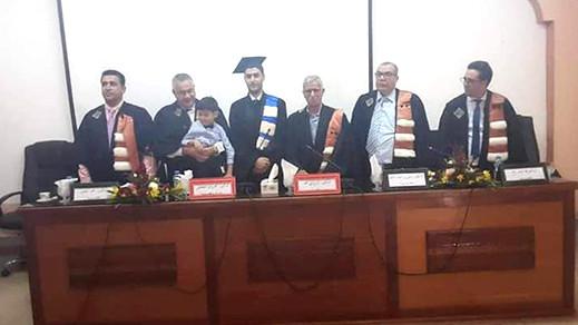 الطالب  عبد العزيز اقلالوش ابن ايت سعيد يحصل على شهادة  الدكتوراه بميزة مشرف جدا مع توصية بالنشر