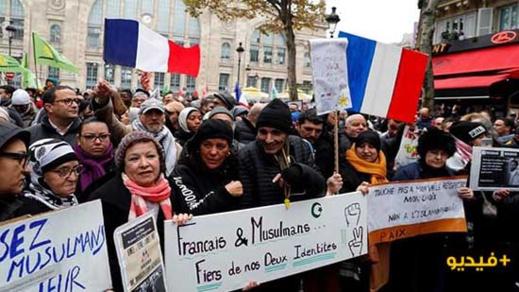 فيديو..مسيرة ضخمة في باريس ضد  الخوف من الإسلام
