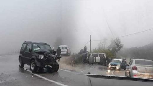 بالصور.. حادثة سير خطيرة بسبب الضباب الكثيف على مستوى الطريق الرابطة بين الحسيمة وتطوان