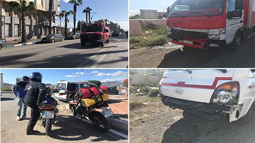اصطدام شاحنتين يخلف إصابة سائح اسباني كان على متن دراجة نارية بجروح بليغة بمدخل مدينة الناظور